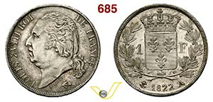 FRANCIA - LUIGI XVI  (1814-1822)  1 Franco ...