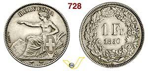 SVIZZERA -     1 Franco 1850 A, Parigi.   Ag ...