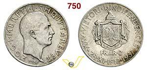 ALBANIA - ZOG I  (1928-1939)  2 Franga Ari ...