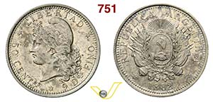 ARGENTINA -     50 Centavos 1882.   Kr. 28   ...